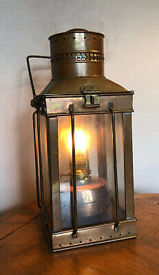 Vintage Copper & Brass W/Glass Maritime Hanging Oil Lamp Boat Nautical WORKS