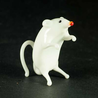 """Glass Brown Rat Figurine 3.2/"""" Long Hand Blown Glass Collectible  #125"""