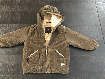 Baby Gap 4 Year Old Corduroy Brown Hooded Jacket Zipper Front Warm Sherpa Lining
