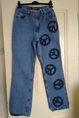 "Vintage 90S Peace Symbol Frayed Patchwork Patch Jeans Retro 28"" Mom Straight Leg"
