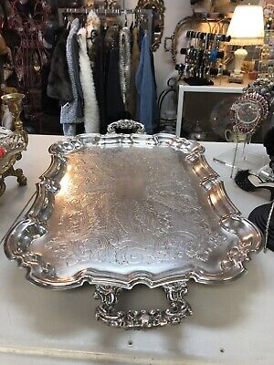 Gorgeous Vintage Leonard Silver Plate Large Serving Tray With Handles & Footed