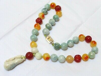 CHINESE NATURAL CARVED JADE, CARNELIAN BEADS NECKLACE PENDANT, Silver Clasp