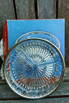 """Leonard Crystal 3 Sectioned Relish Dish Silver Plated #8130 Serving 9"""" Box VTG"""