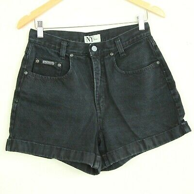 "Vintage 90s NY Jeans Black High Rise Mom Jean Shorts Cuffed 8 29"" waist Denim"