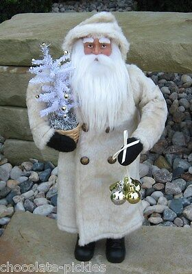 SANTA CLAUS*White Faux Feather Christmas Tree*Primitive/French Country Decor