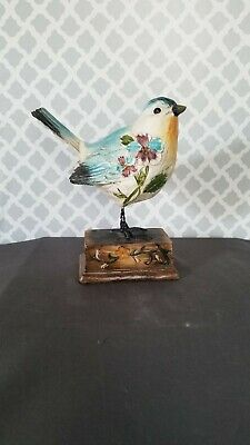 Vntg Hand Carved Painted Wood Blue Jay (?)  Sculpture on wood working chirp box