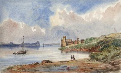 CASTLE ON RIVER POSSIBLY WALES Small Victorian Watercolour Painting 19TH CENTURY