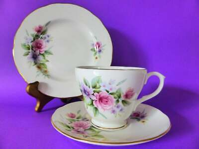 "Duchess ""Estelle"" Bone China Trio, Pink Roses Tea Cup, Saucer & Plate, 1950's"