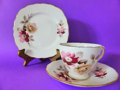 Royal Vale Bone China Trio, Patt 8317, 1950's Floral Tea Cup Saucer & Cake Plate