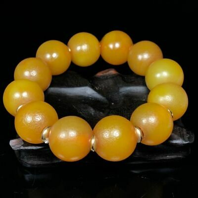 20mm Chinese Dynasty Natural handcarved old yellow Agate circular Beads Bracelet