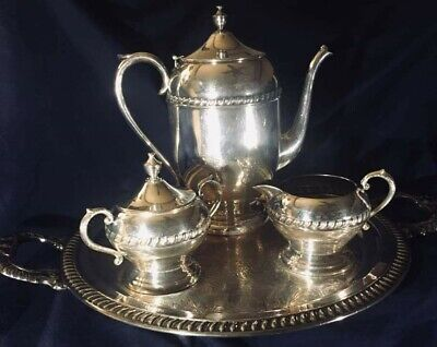 Vintage 1945 Tray and Tea Set Sheridan Silver Co. Silver Plated Great Condition