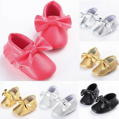 Toddler Kids Baby Girls Cute Toddler First Walk Winter Bow Knot Fringe Shoes AU