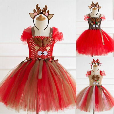 Red Reindeer Kids Girls Xmas Christmas Party Tutu Fancy Dress Costume Outfit UK