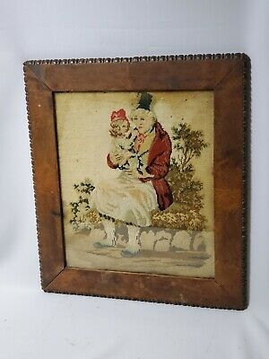 Large Antique 19th Century Or Earlier, fantastic Wooden Framed Needlepoint