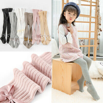 Baby Girls Tights Bowknot Plain Opaque Cotton Warm Socks Pantyhose Stockings