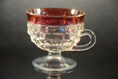 Vintage, clear and cranberry flash, cubist punch cups