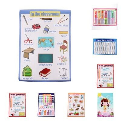 10PCS Educational Posters Learning Teaching Tools Wall Chart for Preschoolers
