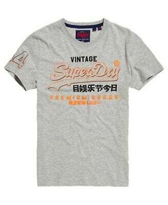 SUPERDRY HERREN T SHIRT PREMIUM GOODS TRI COLOUR TEE Ice