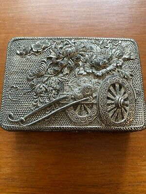 Vintage Antique Hat Pin Hair Pin Box Silver Plate