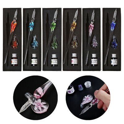 Vintage Handmade Art Craft Crystal Floral Glass Dip Pen Glass Signature Ink Pen
