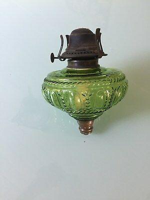 Green Emerald Glass Kerosene Oil Kero Lamp Fount Font Antique