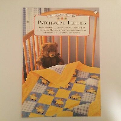 Needlework pattern: Patchwork teddies cot quilt design and instructions