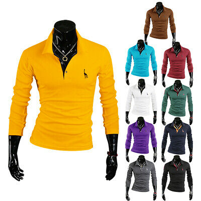 Men's Slim Fit Polo Shirts Long Sleeve Casual Golf T-Shirt Jersey Dress Tops Tee