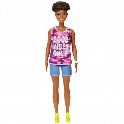 Barbie Fashionistas Doll with Short Curly Hair Wearing Good Vibes Only Tank