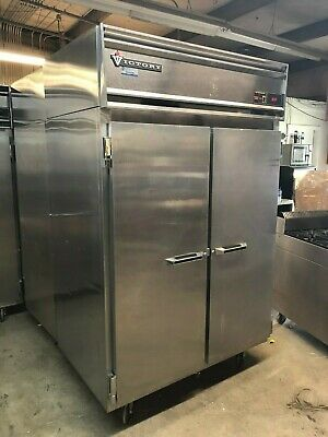 Victory RSA-2D-S7 Commercial Stainless Steel 2 Door Cooler Refrigerator, Casters