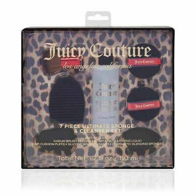 Juicy Couture 7 Piece Ultimate Cosmetic Brush Sponge Puff & Cleanser Set Gift
