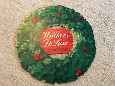 Walker's Deluxe Whiskey 1950's Christmas Wreath Advertising Sign