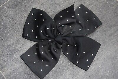 Girls Fab Black Diamante Studded Hair Bow - In Very Good Condition