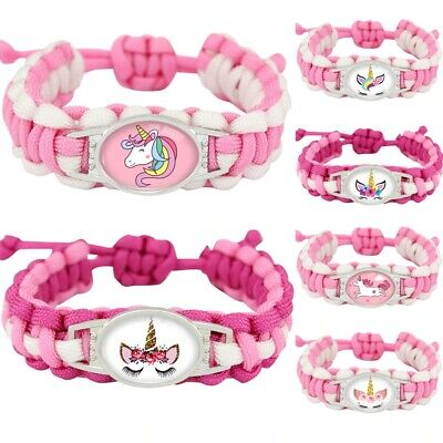 Unicorn Bracelet Girls Pink Hello Kitty Charms Jewellery Childrens Gift UK Stock