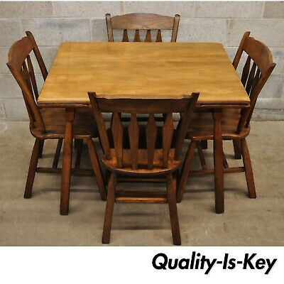 Vintage Rock Maple Colonial 5 Pc Kitchen Set 4 Chairs Hidden Leaf Dining Table