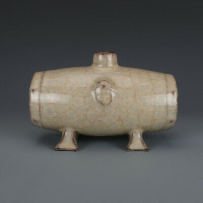 "5.1"" Rare Old Chinese Porcelain song guan kiln fambe Ice crack Mongolia teapot"