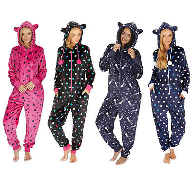 1Onesie Ladies Womens Novelty Fleece Hooded with Ears All-in-One Jumpsuit Pyjama