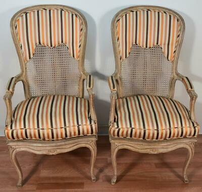 1940s Pair of French Louis XV Mahogany hand painted Armchairs / cane back & seat