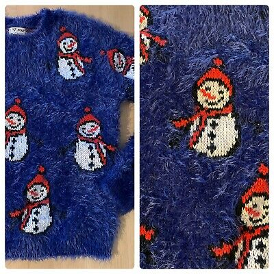 Next Girls Lovely Blue Christmas Snowman Fluffy Jumper Age 10 Years