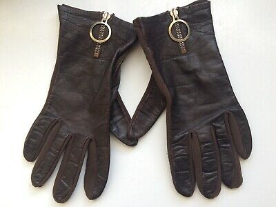 Pair Of Vintage Brown Leather Gloves + Front Zip Detail Size 6.5 - 7.5 Medium