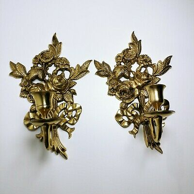 Pair Set 2 Regency Golden Brass Sconce Flower Bouquet Bows Wall Candle Holders