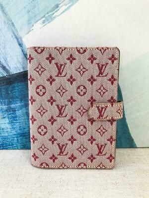 $365 LOUIS VUITTON Red Monogram Canvas Agenda PM Cover Gold Idylle Mini Lin Case