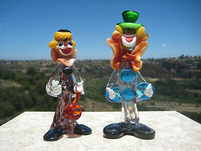 """Vintage Murano Art Glass Multi Color Two Clowns  Figurines 8 1/2"""" & 6"""" Italy"""