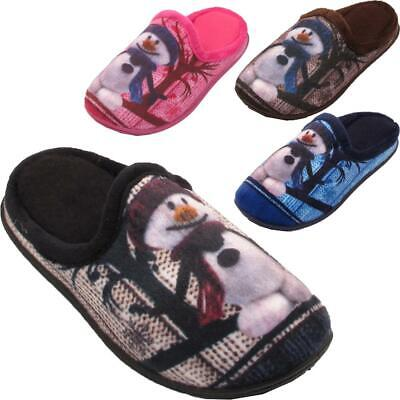 New Kids Infants Girls Boys Winter Snow Man Xmas Toddlers Fleece Lined Slippers