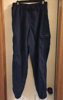 NIKE blue sport pants mens L belted Warm Up Track Running athletic hiking cargo