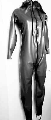 Latex Rubber CATSUIT hooded UNISEX TV XS S M L XL XXL