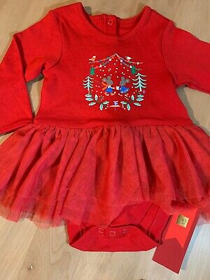 M&S Baby Girls Cute Red christmas outfit 3-6 months Bodysuit With Tutu NEW