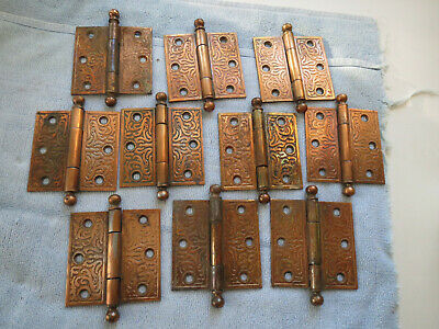 10 pair Antique Victorian Eastlake Door Hinge Cannon Ball Top 3.5 X 3.5 Brass
