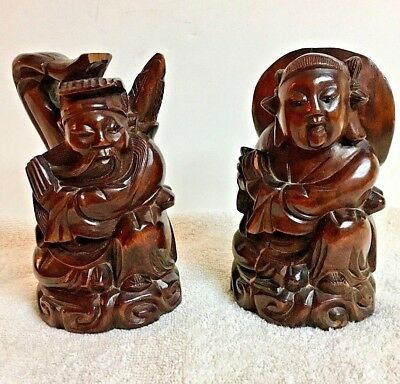 Two Very Old Chinese Figures, Hand Carved Teak Wood, Amazing Artifacts