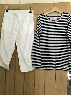 Next girls outfit white trousers & navy stripe  long sleeved top size 10 years v
