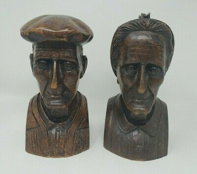 Vintage Old Basque Couple Man Woman Bookends Hand Carved by José Manuel Alberdi